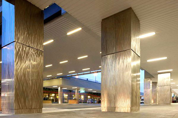 Pittcon Custom Patterned Brushed Stainless Steel Column Covers